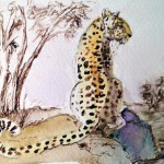 Watercolour painting. Lapalala Leopard (LBA016). Artist: Lori Bentley