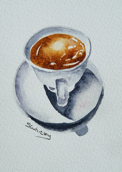 Watercolour painting. Coffee Time (SWA005) Artist: Sharon Whitley