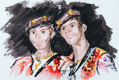 Watercolour painting. Danseurs (CAA003) Artist: Christiane Allenbach