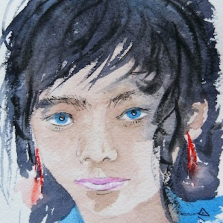 Watercolour painting. Fillette Sauvage (CA004) Artist: Christiane Allenbach