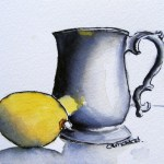 Watercolour Paintings. Still Life With Lemon (IOA003). Artist: Ingrid Ormestad
