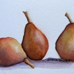Watercolour Paintings. Pear Trio (IOA005). Artist: Ingrid Ormestad