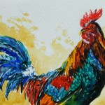 Watercolour painting. Colourful Cockerel (MVA004). Artist: Marily Valkijainen