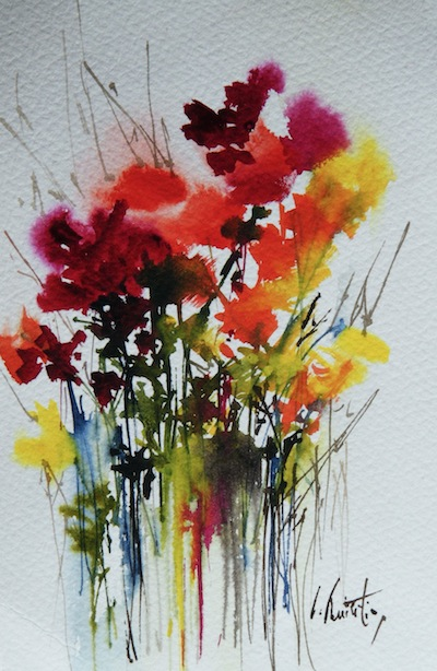 Watercolour painting. Fresh Flowers 2 (OQA2)