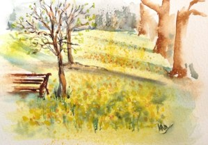 Watercolour Painting. Early Spring in Green Park (RWB0036). Artist: Vandy Massey