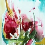 Watercolour painting. Red Flowers 2 (VPM002) Artist: Veronique Piaser-Moyen