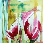 Watercolour painting. Red Flowers 3 (VPM003) Artist: Veronique Piaser-Moyen