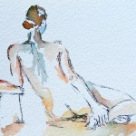 Watercolour painting. Contemplation I (DMA002). Artist Dana Mallon