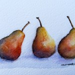 Watercolour Painting. Three of a Kind (IOA018). Artist Ingrid Ormestad