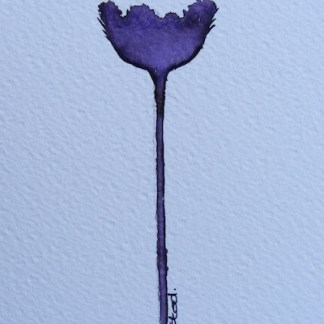 Watercolour painting. Purple Bloom (IOA025). Artist: Ingrid Ormestad