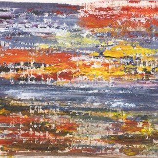 Acrylic painting. JDA005 Distant Shore. Artist: Joy