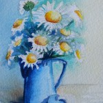 Watercolour Painting. Jug of Daisies (SDR017) Artist: Sabine De Rode