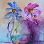 Watercolour Painting. Flowers in a Jug (SDR019) Artist: Sabine De Rode
