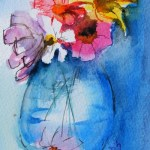 Watercolour Painting. Flowers in a Vase (SDR020) Artist: Sabine De Rode