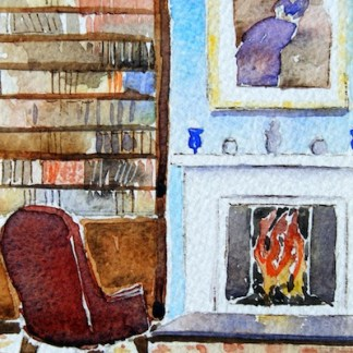 Watercolour Painting. Books Galore (POB001) Artist: Polly Birchall