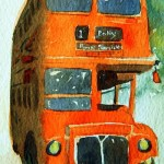 Watercolour Painting. London Bus (POB005) Artist: Polly Birchall