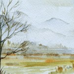 Watercolour Painting. Misty Derwent Water (POB006) Artist: Polly Birchall
