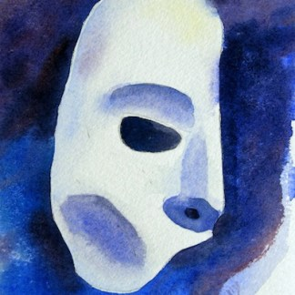 Watercolour Painting. Phantom of the Opera Mask (POB008) Artist: Polly Birchall