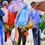 Watercolour Painting. Queueing in the Rain (POB010) Artist: Polly Birchall