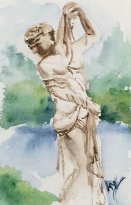 Watercolour painting. RWB0117 Tuileries Garden. Artist: Vandy Massey