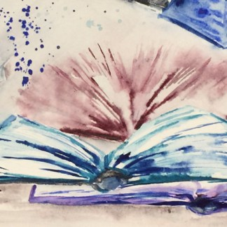Watercolour painting. RWB0125 Open Books Artist: Vandy Massey