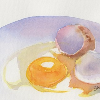 Watercolour painting. JBA012 Sunny Side Up. Artist: Judy Barends