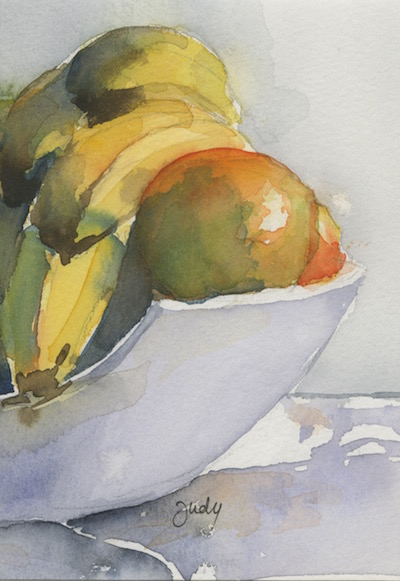 Watercolour painting. JBA013 Fruit Bowl. Artist: Judy Barends