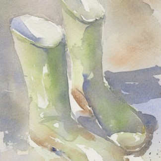 Watercolour painting. JBA019 Welly Walk. Artist: Judy Barends