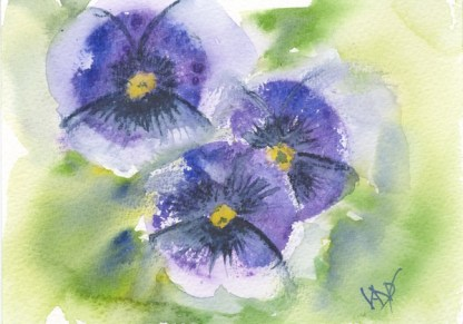 Watercolour painting. RWB0152 Little Flower Faces Artist: Vandy Massey