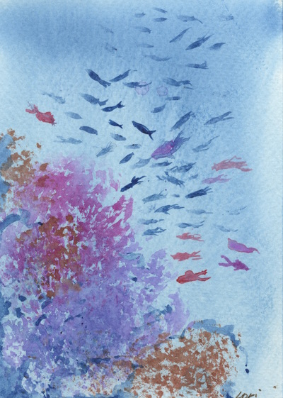 Watercolour painting. LBA052 Reef. Artist: Lori Bentley