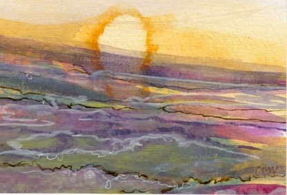 Watercolour painting. CMW001 Goathland Moor Sunset. Artist: Clare Maria Wood