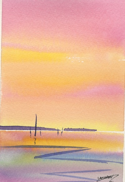Watercolour painting. MLA010 Seascape 4. Artist: Maggie Latham