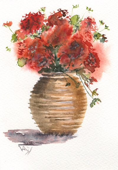 Watercolour painting. RWB0204 - Pelargonium Urn.