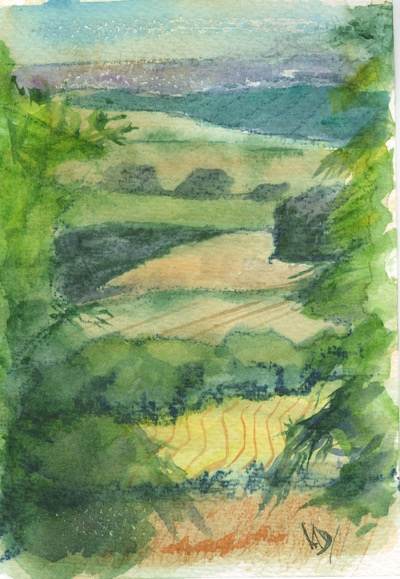 Watercolour painting. RWB0205 - Wandlebury vista.