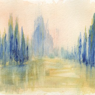 Watercolour painting. RWB0208 - Poplars at the Waterside.