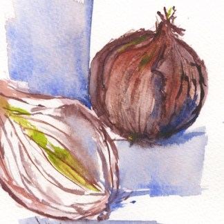 Watercolour painting. RWB0210 - Red Onions.