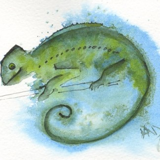 Watercolour painting. RWB0220 - Comma Chameleon. Artist: Vandy Massey