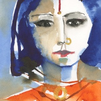 Watercolour painting. VMP007 - Indian Lady - Orange. Artist: Veronique Piaser-Moyen