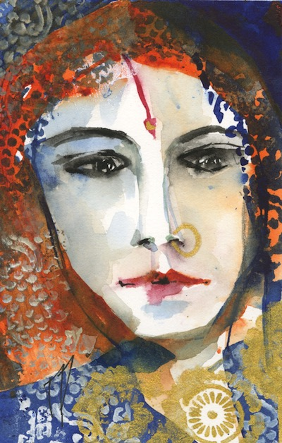Watercolour painting. VMP010 - Indian Lady - Indigo. Artist: Veronique Piaser-Moyen