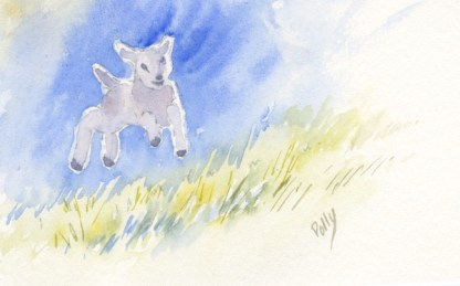 Watercolour painting. POB018 - Gambolling Lambs (photograph kind permission of Jeremy Durkin) Artist: Polly Birchall