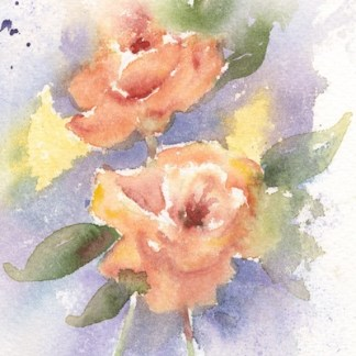 Watercolour painting. POB025 Smell the Roses. Artist: Polly Birchall