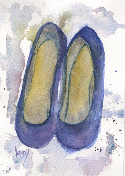 Watercolour painting. RWB0228 Blue Suede Shoes. Artist: Vandy Massey
