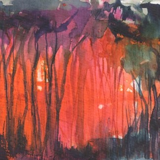 Watercolour painting. RWB0300 Sunset in the Rainforest. Artist: Vandy Massey