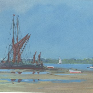 Watercolour painting. AOA002 Barges on the Mud. Artist: Anthony Osler