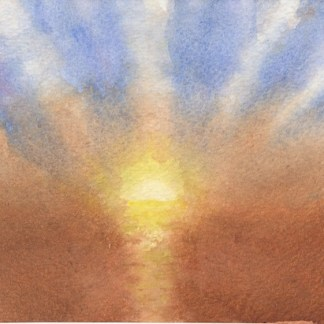 Watercolour painting. RBA002 Sunset and Sea. Artist: Rita Browne