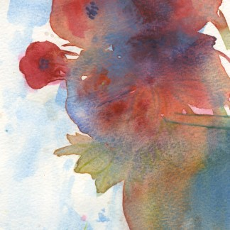 Watercolour painting. RWB0325 Blue Vase. Artist: Vandy Massey