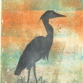 Watercolour painting. SDA004 Heron. Artist: Sue Downie