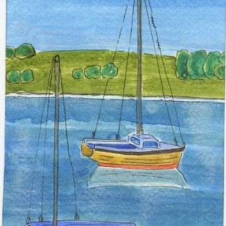 Watercolour painting. ATA001 Two Boats Artist: Anna Trevena