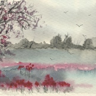 Watercolour painting. CFA001 Colour on a Grey Day. Artist: Caroline Furlong