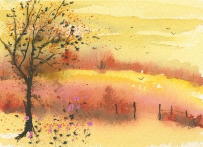 Watercolour painting. CFA004 Autumn. Artist: Caroline Furlong